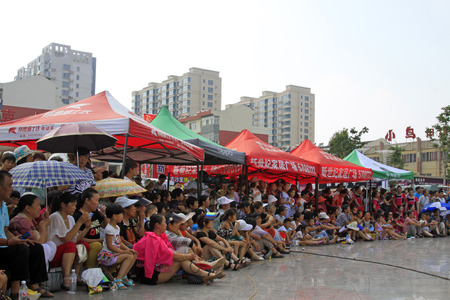 hebei: Luannan County - June 17: audience in the square, on June 17, 2015, luannan county, hebei province, China Editorial