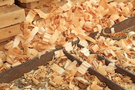semifinished: piles of wood shavings