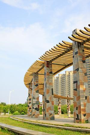 Wooden veranda and pillar