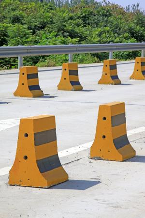 Yellow traffic isolation pier