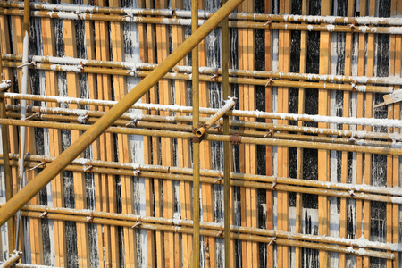Steel pipe scaffold in the construction site