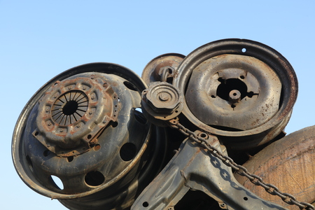 shabby car wheel frame Stock Photo