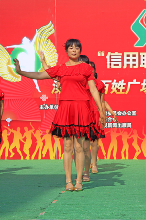 Luannan - June 5: fitness dance performances in the square, on June 5, 2015, luannan county, hebei province, China