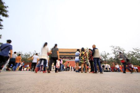 Visitors outside the Imperial Palace,  Beijing Banco de Imagens - 81903195