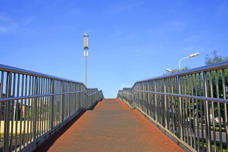 Street lamp and railing