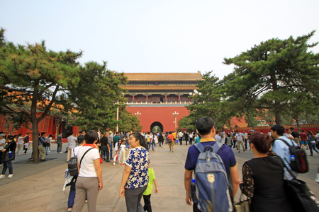 Visitors outside the Imperial Palace,  Beijing Banco de Imagens - 82644807