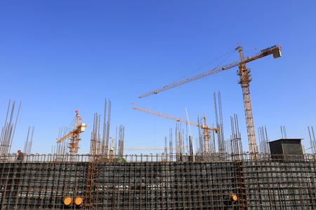 bracket: Steel bracket and tower crane in construction site