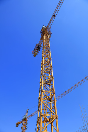 bracket: bracket of tower crane in the blue sky background