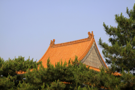 Glazed tile roof, Chinese ancient architectural landscape