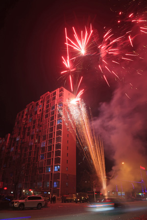 Fireworks over buildings Editorial