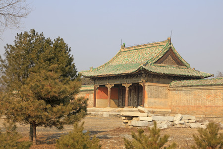 damaged roof: Ancient Chinese traditional architecture Editorial