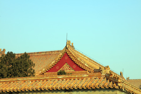 damaged roof: Ancient Chinese traditional architecture Stock Photo