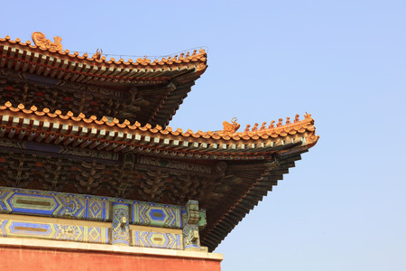 damaged roof: Ancient Chinese architectural landscape Stock Photo