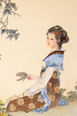 Chinese ancient ladies in art works Editorial