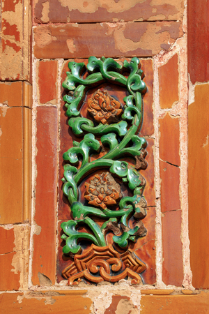Sculpture of glazed tile in ancient China Stock Photo