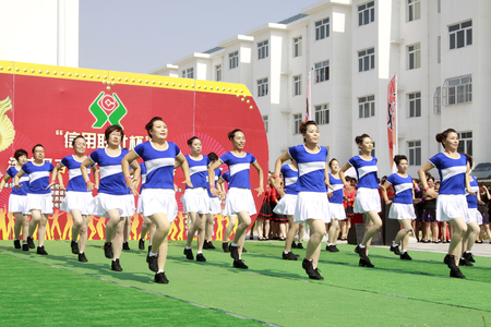Luannan - June 5: fitness dance performances in the square, on June 5, 2015, luannan county, hebei province, China   Editorial