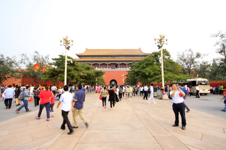 Visitors outside the Imperial Palace,  Beijing Banco de Imagens - 90729236