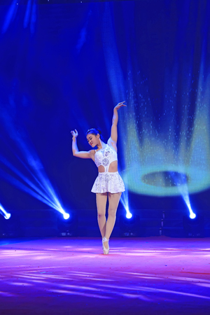 Luannan County - February 3, 2015: Chinese acrobatic show, Luannan County, Hebei, China, February 3, 2015  Editorial