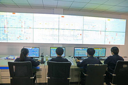 Luannan County - October 19, 2016: technical personnel in the monitoring and production system, Luannan, Hebei, China,   Editorial