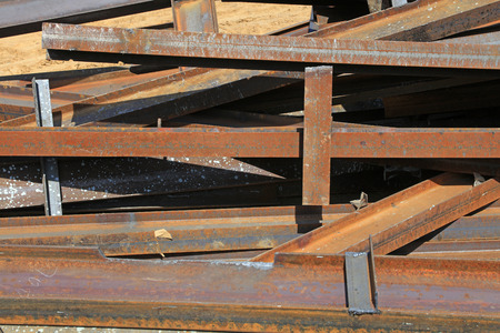 Oxidized rusty steel parts stacked together