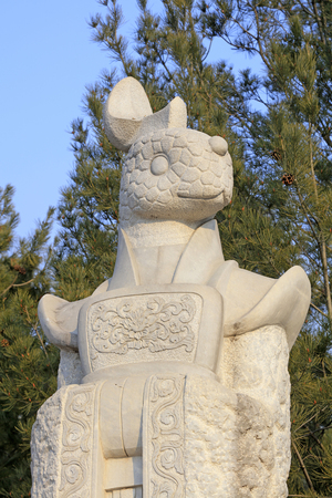 China ancient temple animal sculpture
