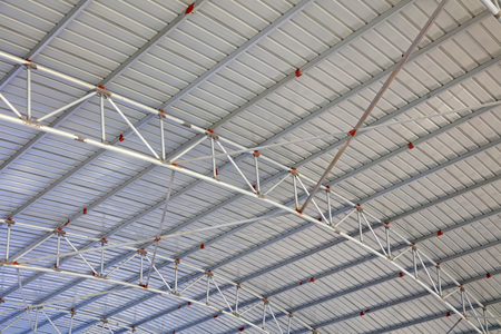 Steel frame roof Stock Photo