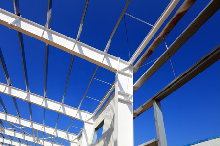 A white steel beam under the blue sky  Stock Photo