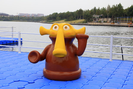 Big nose animal modeling on plastic buoy deck