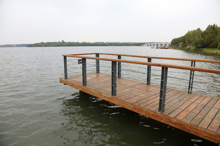 wooden platform at the water side