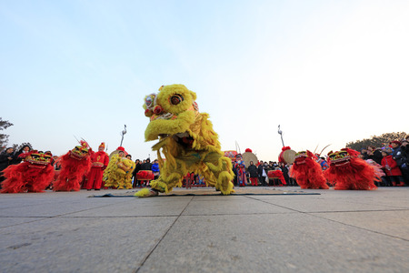 Tangshan City - February 20, 2018: lion dance performance in parks, Tangshan City, Hebei, China