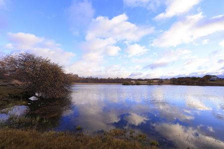 natural scenery of the princess lake of Ulan cloth in Inner Mongolia Banco de Imagens