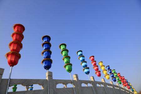 bunch of lanterns on the bridge Stock Photo
