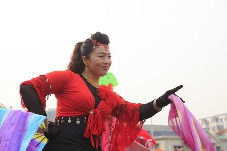 Luannan County - February 7, 2017: Chinese folk Yangko performance, Luannan County, Hebei Province, China