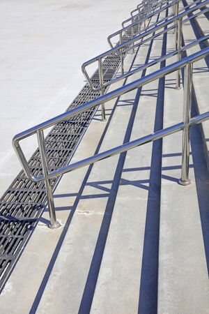 Steps and stainless steel railings