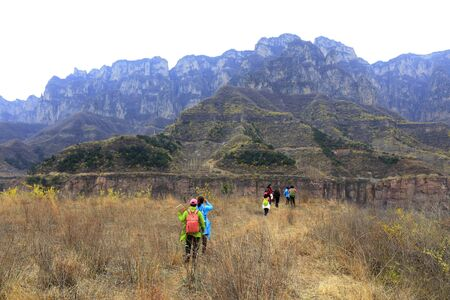 Tourists in Wanxian mountain Scenic spot, China