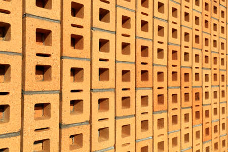 Yellow hollow brick wall