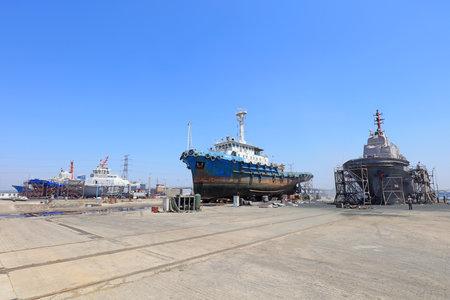 Luannan County-May 23, 2019: Ships awaiting repair are at the shipyard, Luannan County, Hebei Province, China