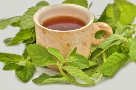 cup of tea useful to health and leaves of mint Stock Photo - 3247007