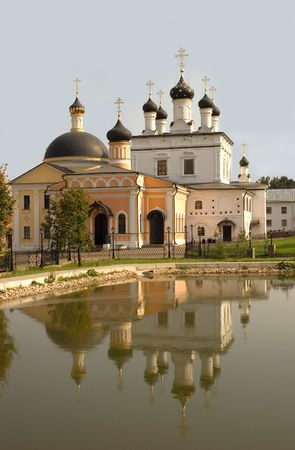 monastery in Russia near Moscow located near lake with water photo