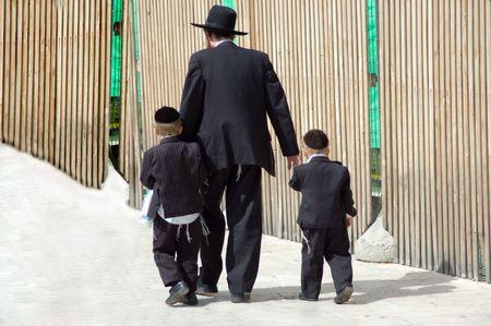 orthodox family in israel in jerusalem Stock Photo - 3693758