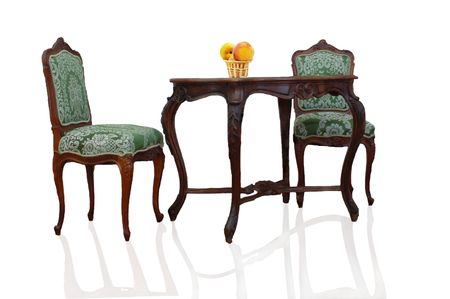 two chairs: Table and two chairs on a white background Stock Photo