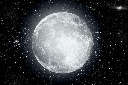 lucero: Luna llena en alta resoluci�n con estrellas en segundo plano