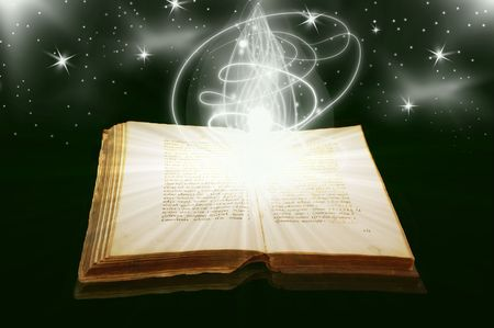 The open ancient book and bright stars