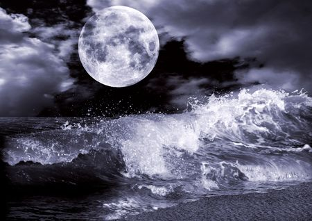 moon and stars: Full moon  Stock Photo