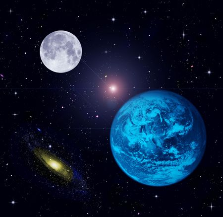 The Earth, Moon, stars  Фото со стока