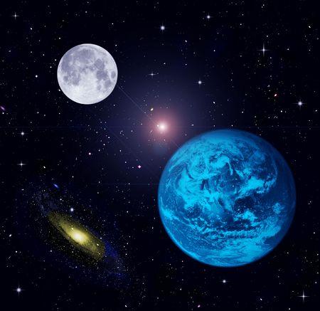 The Earth, Moon, stars  Stock Photo