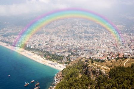 looking down from the Alanya Castle to the Mediterranean Sea Stock Photo - 8073811