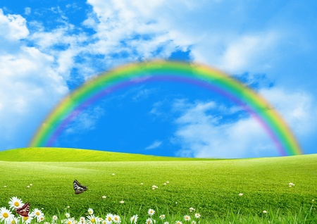 rainbow clouds: Rainbow over a green glade