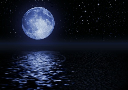 Full moon image with water  Stock Photo
