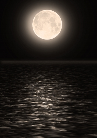 Full moon image with water